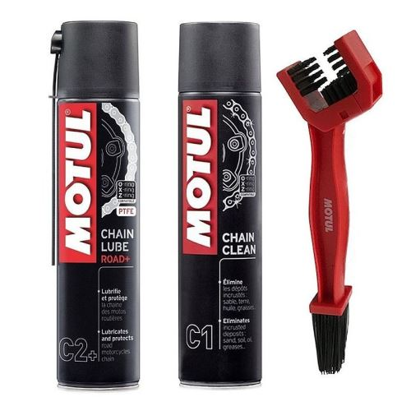 Sada na čištění a mazání řetězů MOTUL Chain Lube/Clean/Brush